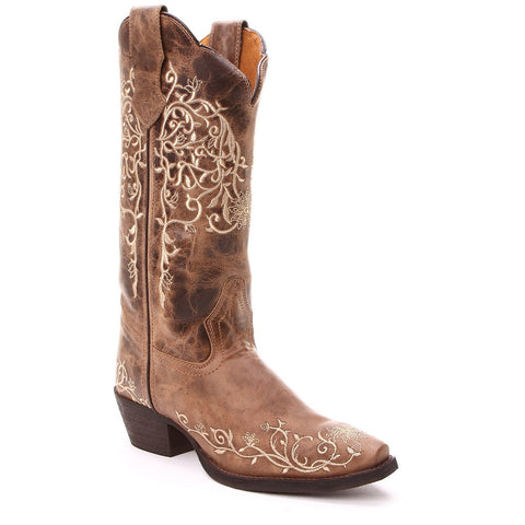 Laredo Ladies Brown Flower Embroidered Western Boot 52177 - Wild West Boot Store - 1
