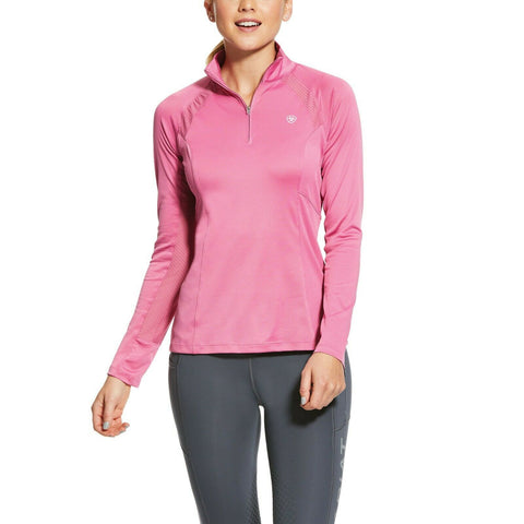 Ariat® Ladies Sunstopper 2.0 Pink 1/4-Zip Pullover Baselayer 10030455