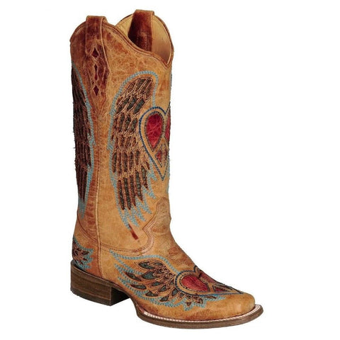 Corral Ladies Saddle/Blue Jean Wing and Heart Boot A1990 - Wild West Boot Store