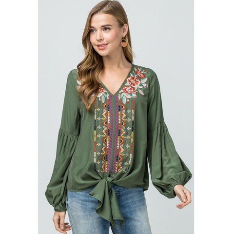 Entro Ladies Olive Green Balloon Sleeve Shirt T13153-OLV