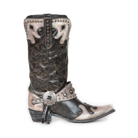 Double D Ranch Ladies Ranchitos Ridge Black & White Boots DDL011-4