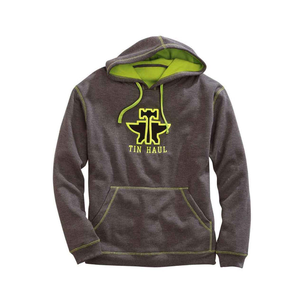 Tin Haul Men's Grey & Lime Green Embroidered Sweatshirt. 10-097-0300-0767 GY
