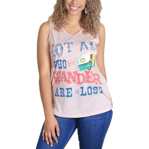 Southern Grace Ladies Not All Who Wander Are Lost Light Pink Tank 3251C