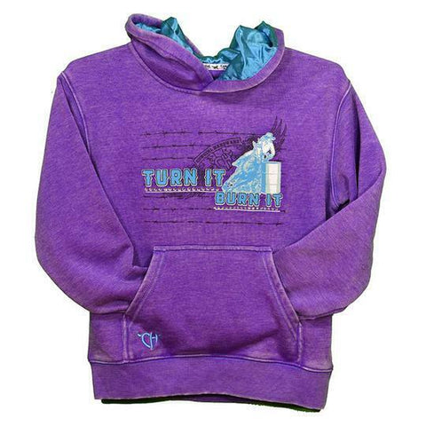 Cowgirl Hardware Girls Turn It Burn It Purple Hoodie 471273-190
