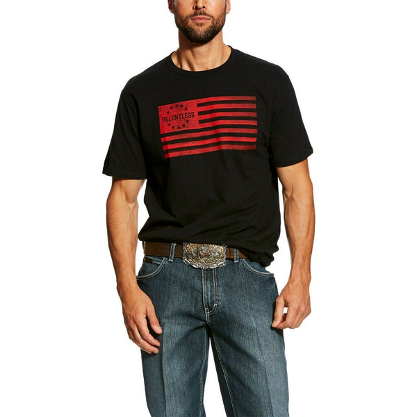 Ariat® Men's Relentless Black Red USA Flag Patriotic T-shirt 10026652