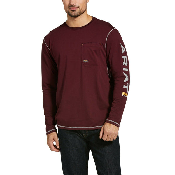 Ariat® Men's Rebar™ Workman Logo Malbec Red Pocket T-Shirt 10032963