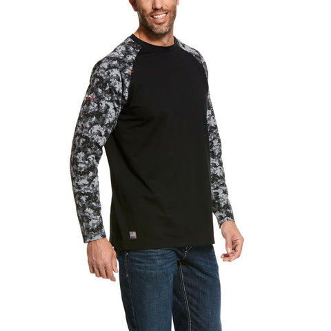 Ariat® Men's FR Work Black Digi Camo Baseball T-Shirt 10027893