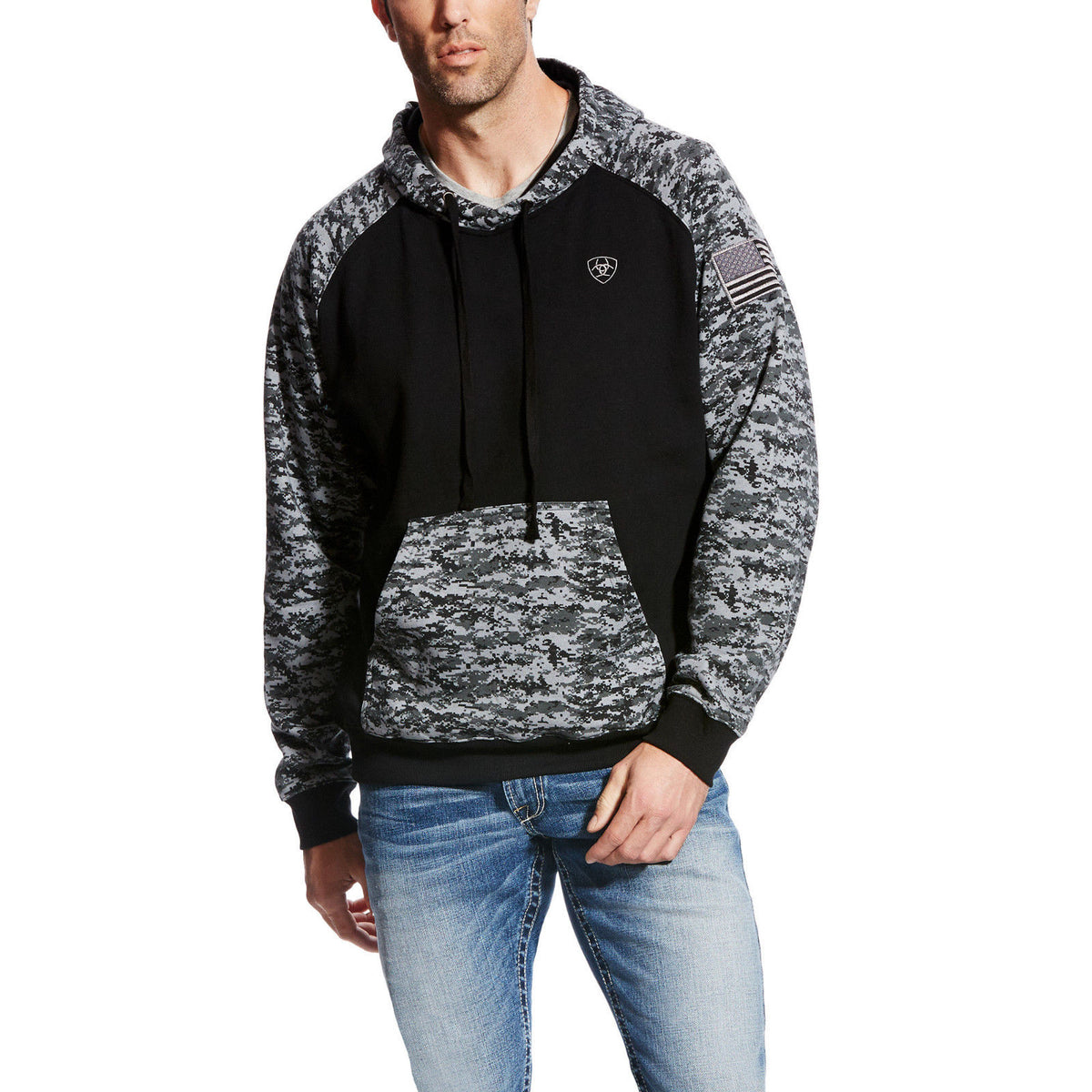 Ariat 174 Men S Patriot Black Digital Camo Hoodie 10022683