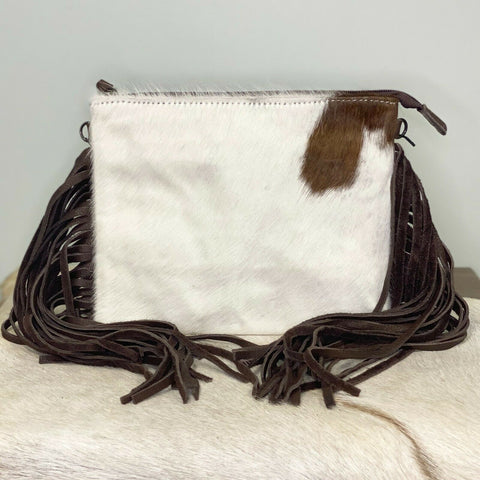 American Darling White & Brown Cowhide Fringe Purse ADBG109BRWFRNG