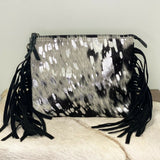 American Darling Black & White Cowhide with Fringe Crossbody ADBG109AC