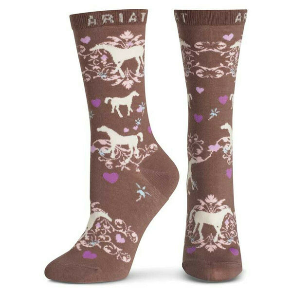 Ariat Ladies Horse Lover Taupe Crew Socks A10008586