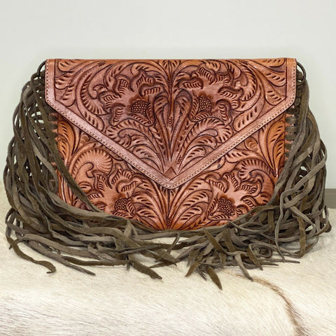 American Darling Thin Brown Embossed Leather & Fringe Purse ADBG481