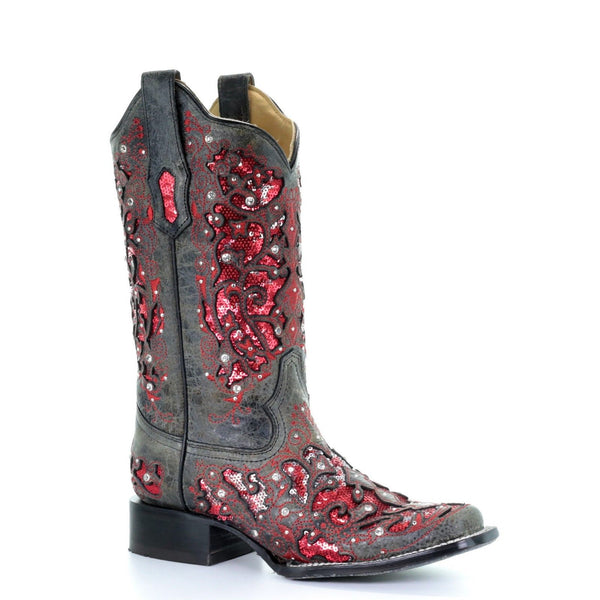Corral Ladies Grey Red Glitter Inlay & Crystals Square Toe Boots A3647