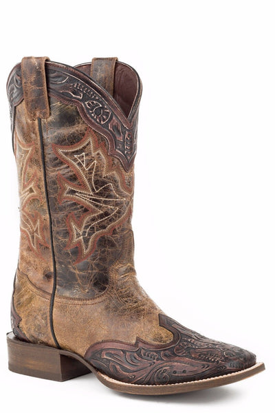 Stetson Men's Brown Tooled Leather Boot 12-020-8861-0777