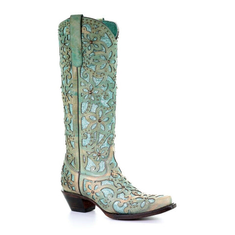 Corral Ladies Turquoise Inlay Embroidery & Studs Tall Top Boots A3674