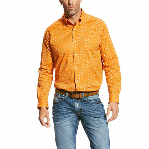 Ariat® Men's Orange Collegiate Stretch Button Down Shirt 10023699