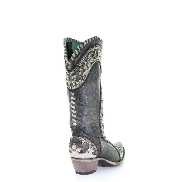 Corral Ladies Black Overlay, Woven, Crystals & Studs Boots E1540