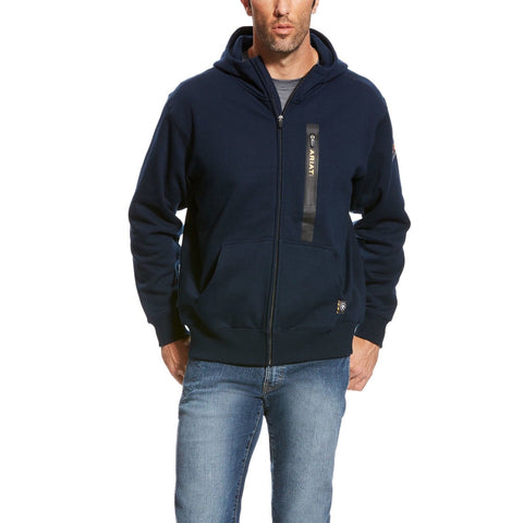 Ariat® Men's Rebar Workman Navy Blue Full Zip Hoodie 10023938