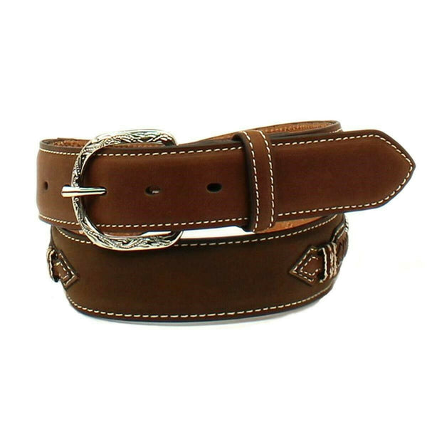Nocona Men's Top Hand Brown Western Leather Belt with Conchos N2475944