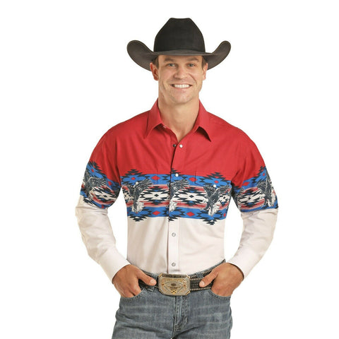 Panhandle Men's Red & White Scenic Border Shirt 30S4850