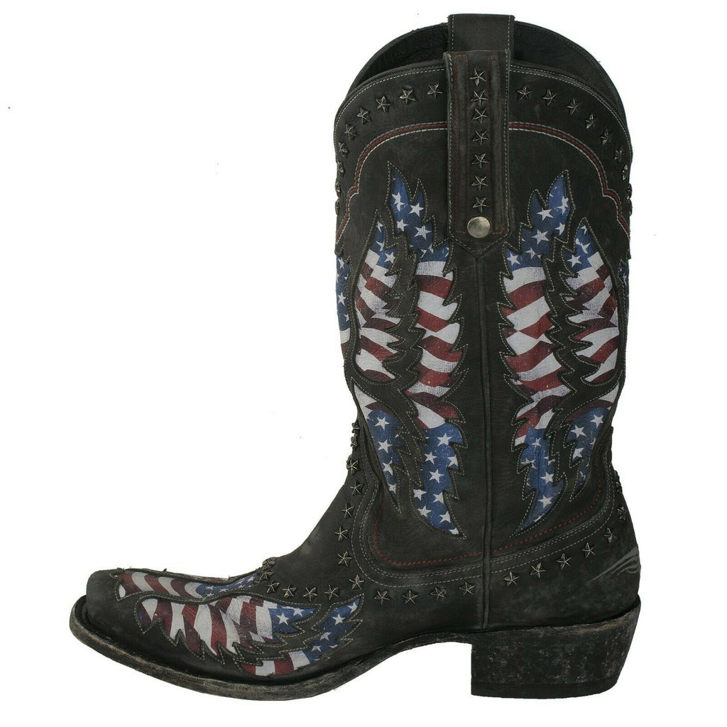 7b04b274052 Lane Men's Distressed Jet Black Old Glory Stone Washed Boots MB0006B ...