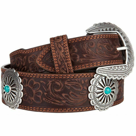 Tony Lama Ladies Navajo Bative Brown Leather Belt With Conchos C51045