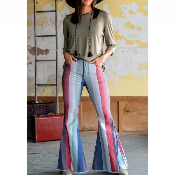 L&B Ladies Stripe Rust Bell Bottom Jeans DP5351-RST