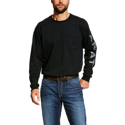 Ariat® Men's FR Pocketed Logo Black Long Sleeve T-Shirt 10023948