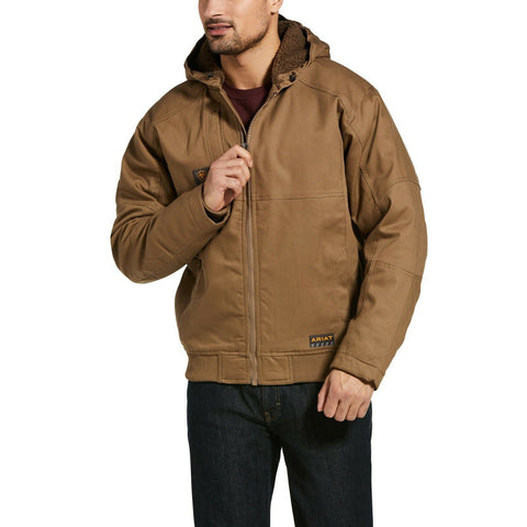 Ariat® Men's Rebar DuraCanvas Field Khaki Brown Hooded Jacket 10032964