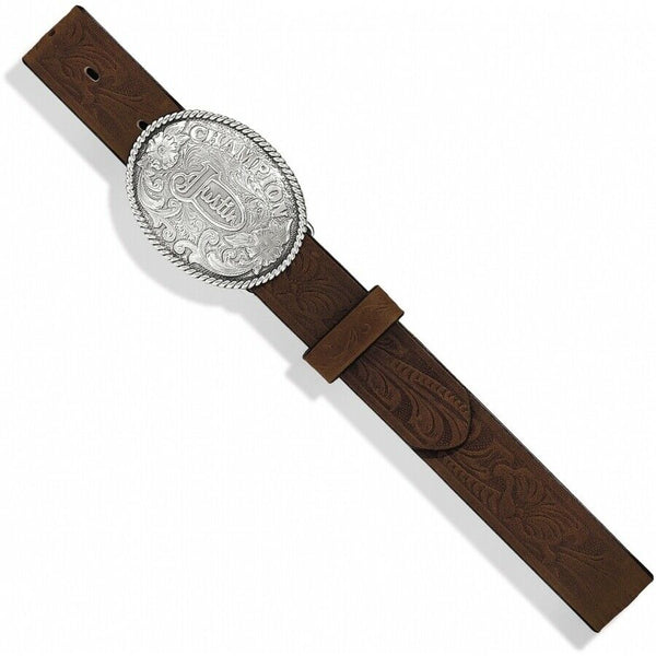 Justin Children's Champion Tooled Brown Leather Belt 811BR