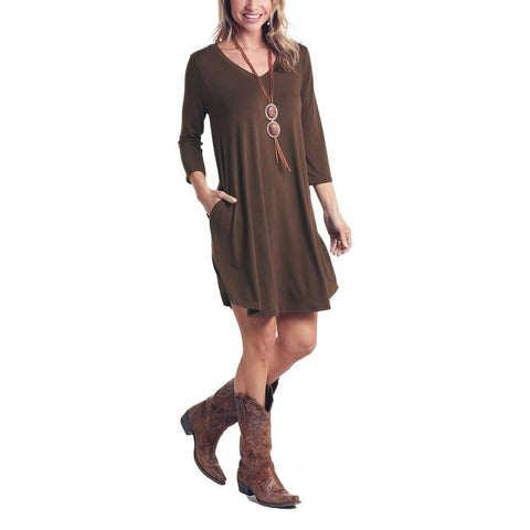 Panhandle Ladies Brown 3/4 Sleeve V-Neck Dress L9D6470-24