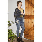 Grace in L.A. Ladies Floral Embroidery Skinny Jeans JNW-51315