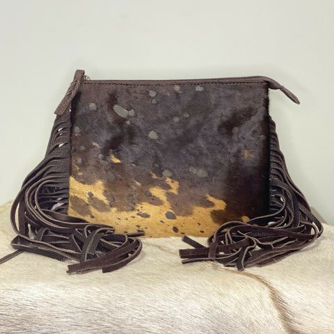 American Darling Dark Brown Cowhide with Fringe Crossbody ADBG109BRAC2