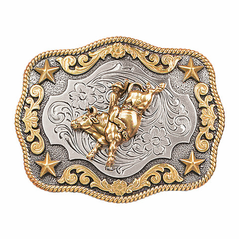 Nocona Youth Bullrider & Stars Rectangle Belt Buckle 3798902