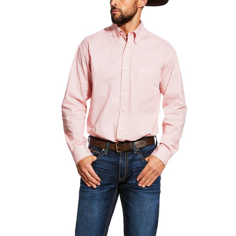 Ariat® Men's Beach Legacy Pink Darner Stretch Printed Shirt 10025517