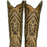 Corral Ladies Straw Brown Studded Boot w/ Bronze & Black Laser Inlay E1620