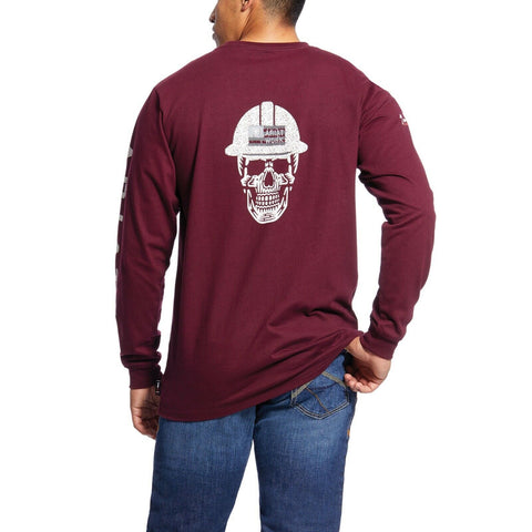 Ariat® Men's FR Roughneck Skull Logo Malbec Red T-Shirt 10026435