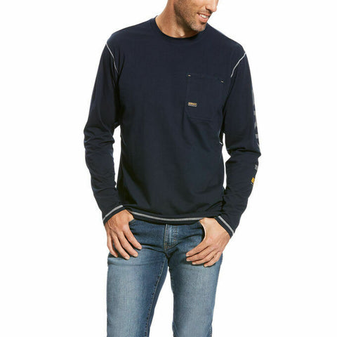 Ariat® Men's Navy Rebar Workman Logo Long Sleeve Shirt 10023920