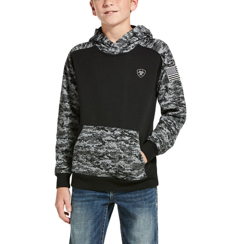 Ariat® Children's Black Patriot Digital Camo Hoodie 10032936