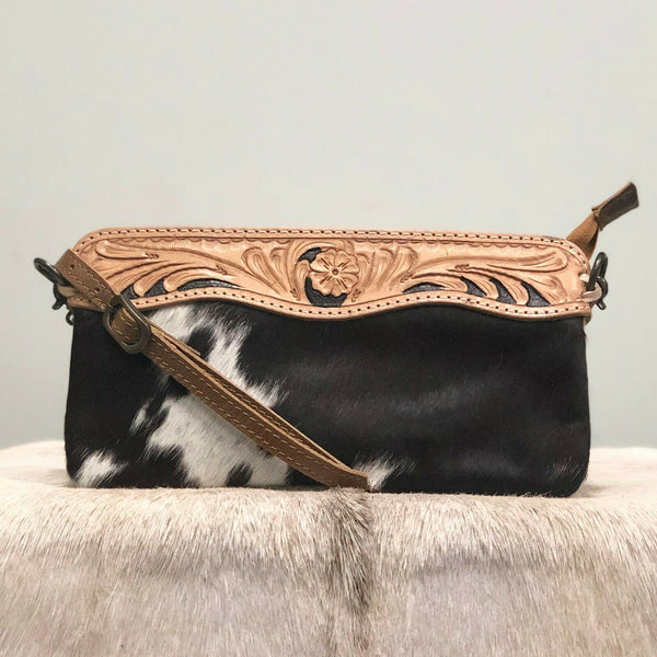 American Darling Brown and White Small Cowhide Crossbody ADBGS199BRW