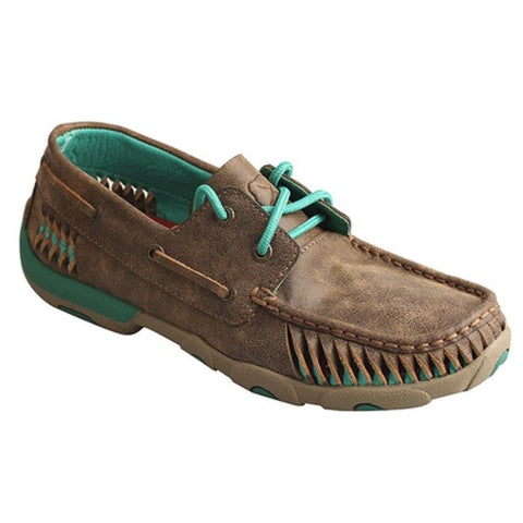 Twisted X Ladies Brown/Turquoise Driving Mocs WDM0083