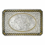 Montana Silversmiths Two Tone Wheat Trim Portrait Belt Buckle 27200NF