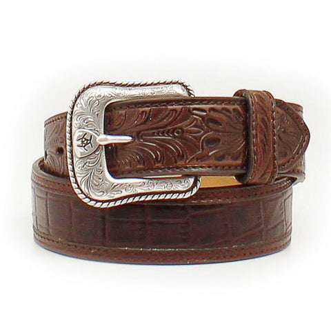 Ariat Men's Brown Crocodile Print Floral Embossed Tab Belt A1021202