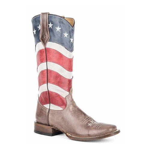 Roper Ladies American Flag Square Toe Boots 09-021-7001-1105 - Wild West Boot Store