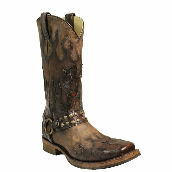 Corral Men's Taupe Harness & Flames Overylay Boots A3365