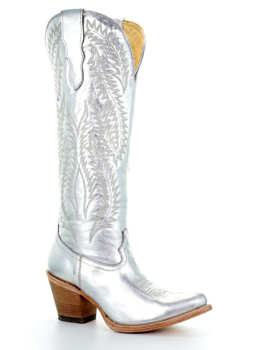 Corral Ladies Silver Metallic Embroidery Tall Knee High