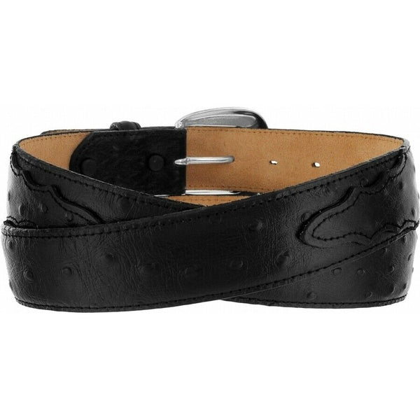 "Tony Lama Men's Ostrich Print 1 3/8"" Black Dress Belt 1373L"