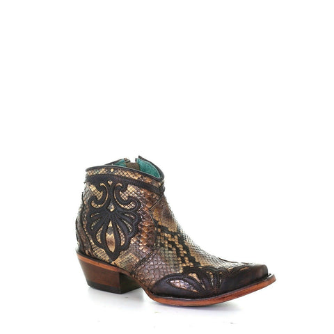 Corral Ladies Tan & Aqua Python Booties w/ Overlay & Embroidery A3985