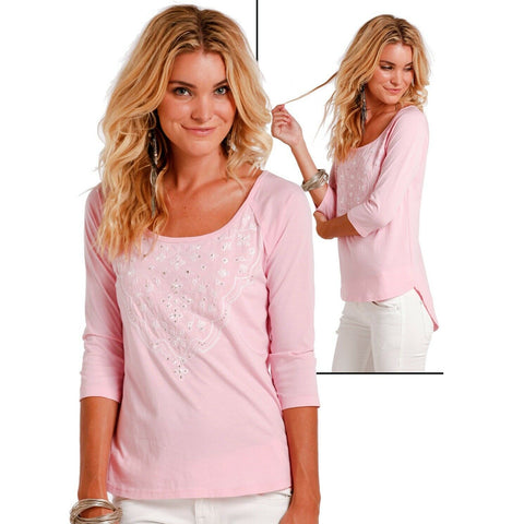 Panhandle Ladies 3/4 Sleeve Pink Relaxed Baseball Knit Shirt L9T2480