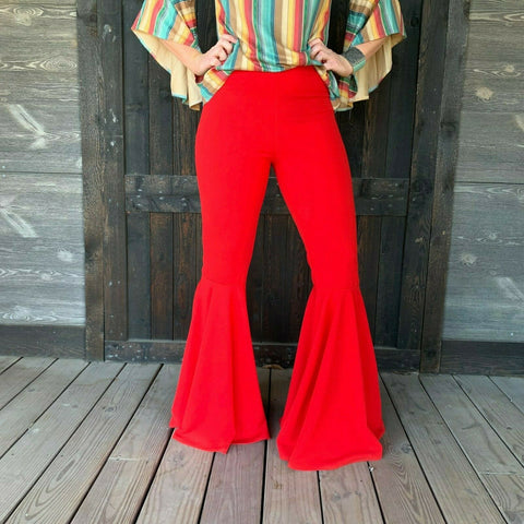 Turquoise Haven Ladies Red Wide Bell Bottom Pants 3530-RED